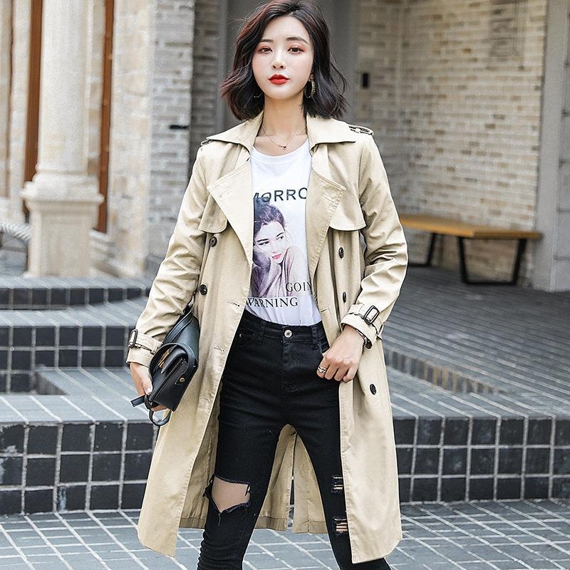 2019 Nouveau style coréen automne décontracté printemps et l'automne à mi-longueur coupe-vent grande taille chic, coupe-vent jusqu'aux genoux minces femmes