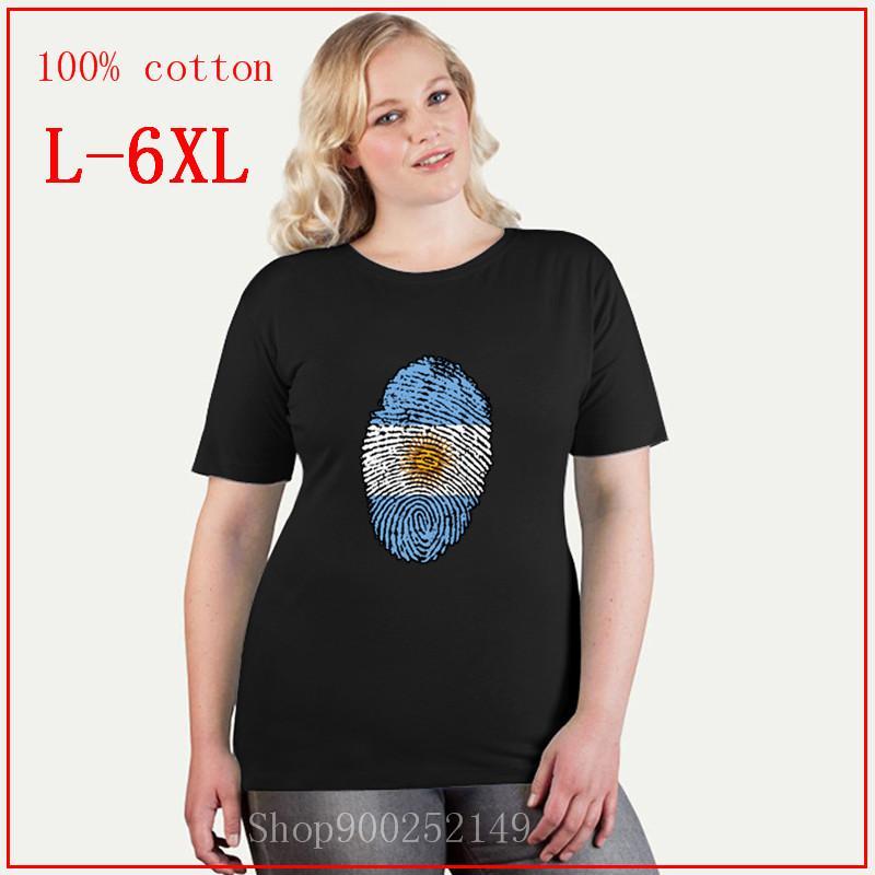 Funny Argentina Flag Fingerprint Women T shirt Short Sleeve Organic Cotton tshirt Thumbprint design plus size tops 4XL 5XL 6XL