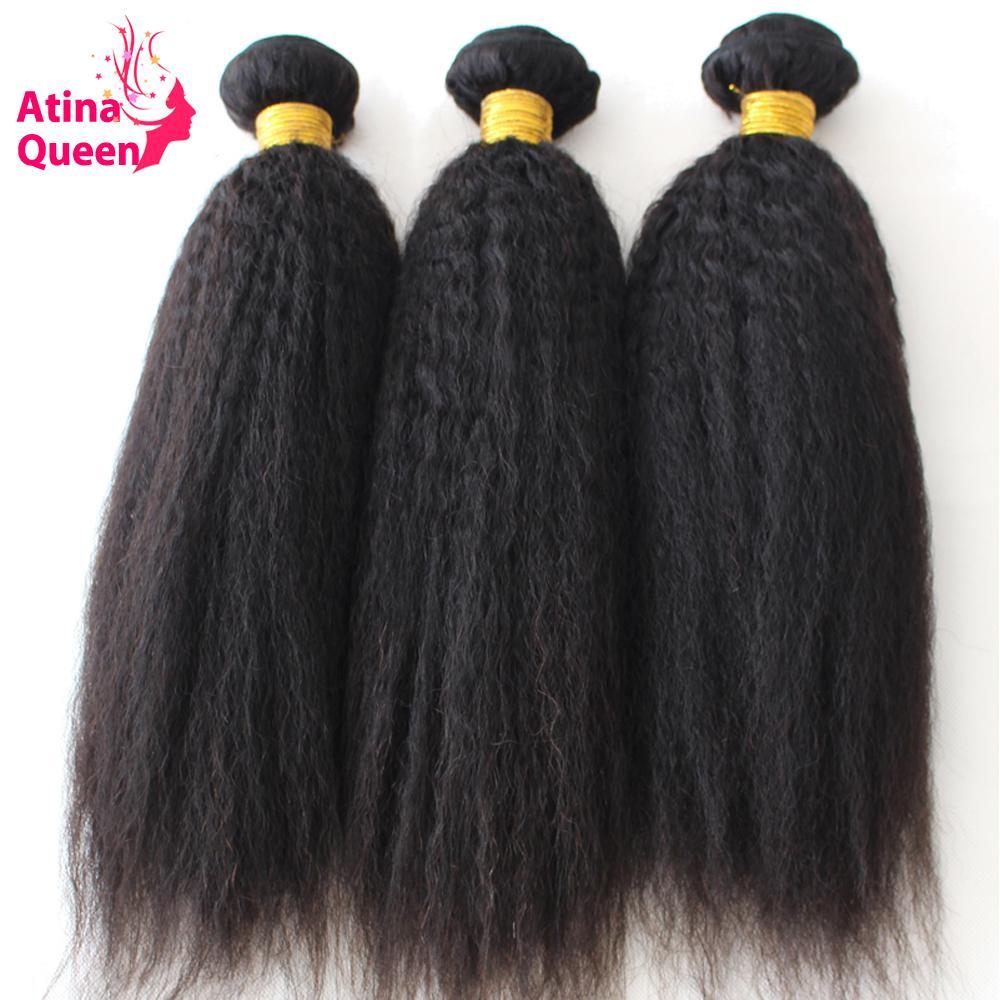 Atina reina del pelo recto de 3 lotes de 100% Afro trama italiana grueso pelo de Remy Negro natural para las mujeres
