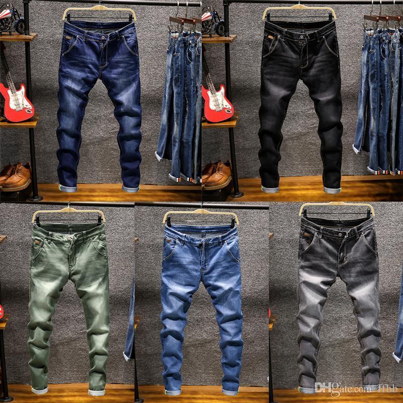 Semplici Moda Streetwear Uomo Jeans Retro Wash skinny elastico denim dei pantaloni della matita Homme stile coreano Hip Hop Gioventù Jeans Uomo