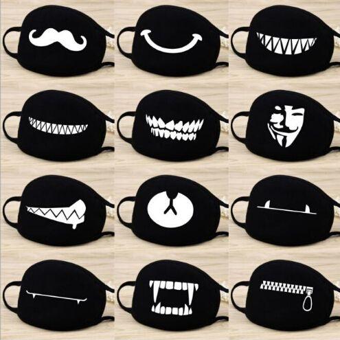 Mode Cartoon-Muster Solid Black Cotton Gesichtsmaske Nette 3D Half Face Mouth Muffel Masken Partei-Schablonen Outdoor Radfahren Maske Drucken