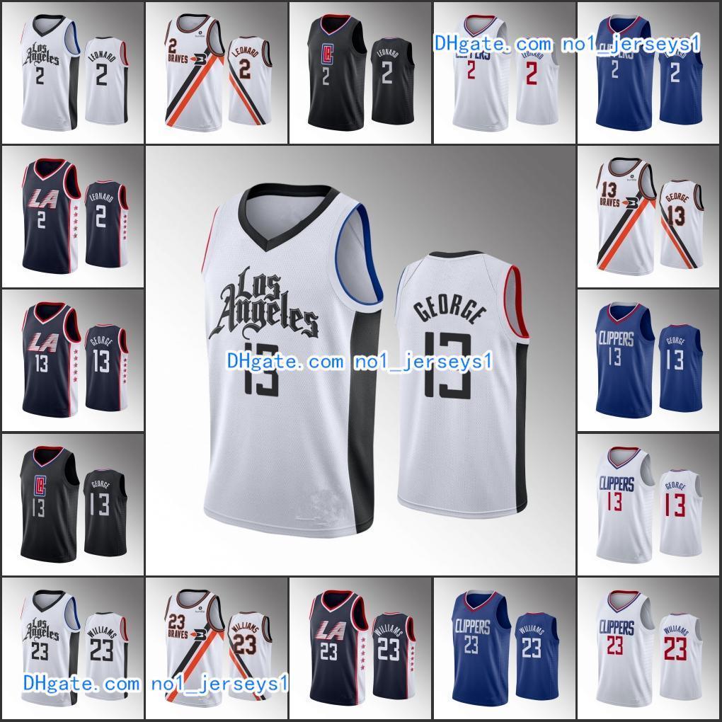 Para hombre de Los ÁngelesTijerasBaloncesto Jersey Kawhi Leonard Paul George Lou WilliamsNBA 2019-20 jerseys