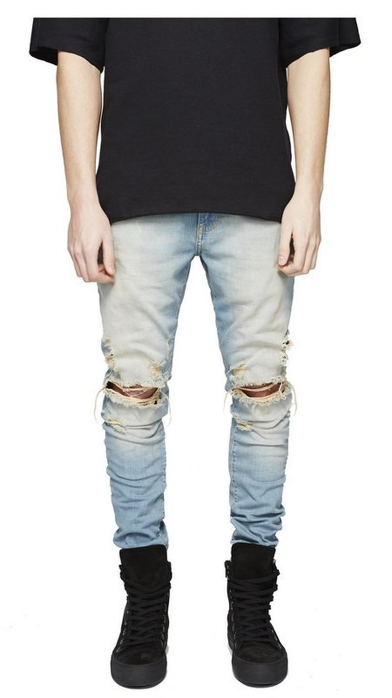 Jeans quebrado Copper Hip-hop Street Style personalidade de homens Songsanding do Projeto Homens Calças Outono nova moda tendência de design 28-36