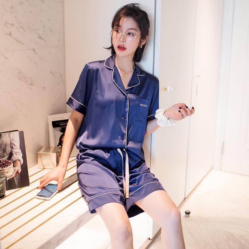 Tiktok rápido en línea hielo rojo del satén de seda de la falda corta falda de pijamas cortos casuales de manga corta imitación pijamas de seda del verano de las mujeres