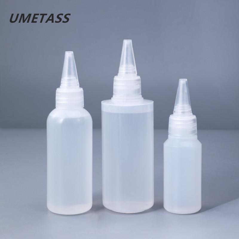 Bouteilles de rangement Jars Umetass 30 ml, 60ml, 100 ml de colle en plastique PE vide avec des couvercles à visser Squeeze gouttes d'huile d'encre liquide 10pcs / lot