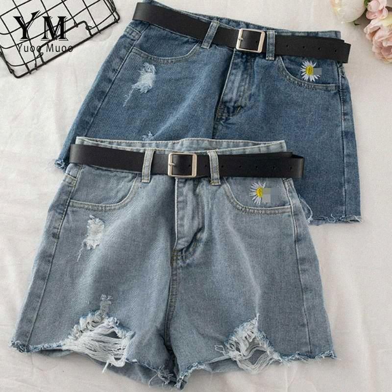 YuooMuoo Denim Short Jeans Mujeres Ins manera de la vendimia del bordado de los tejanos pone en cortocircuito con la correa ocasional rasgado pantalones cortos de verano olHr #