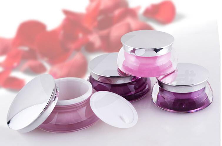100pcs / lot Pembe Mor Akrilik Plastik Krem Kavanozlar Kozmetik Folyo Caps ile konteynerler Packaging boşaltın 15ml