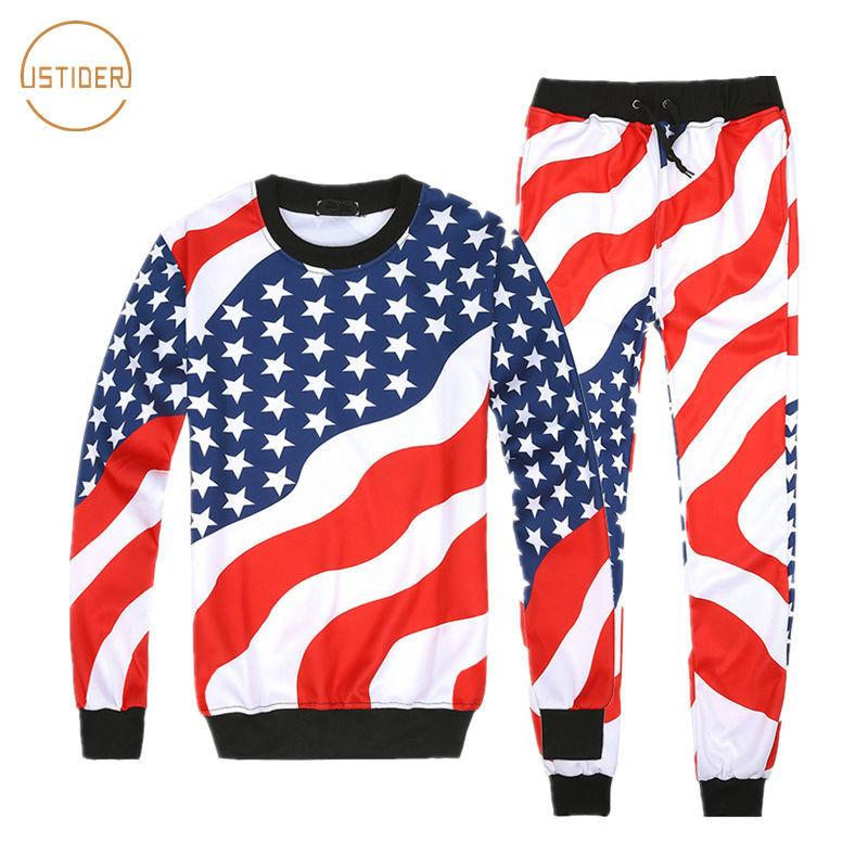 ISTider Hommes / Femmes Motif Drapeau américain costumes d'impression Set Homme Hip Hop Joggers O-Neck Sweat + Pantalons Survêtement Hommes Hoodies Set