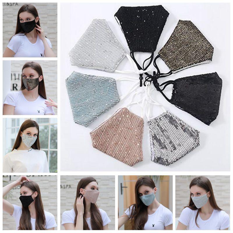 Sequin máscara colorida protector de cara Válvula respiratoria Máscaras Máscara de filtro anti polvo Olor Máscaras reutilizables Cara manera de la decoración 7 Diseños BT37