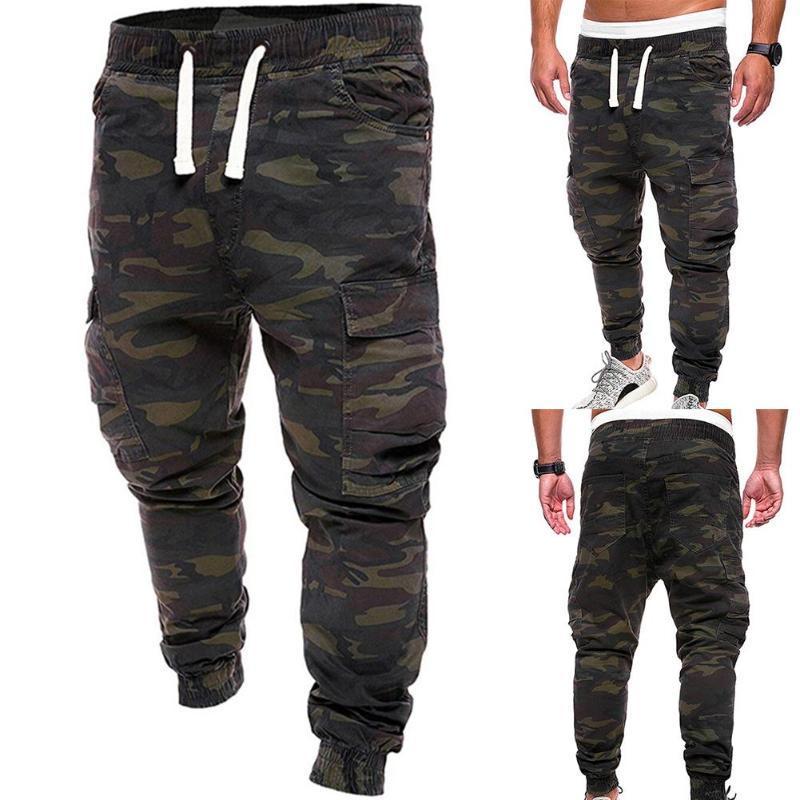 Plus Size Homens Camuflagem Imprimir Calças multi bolsos de carga Jog Pants