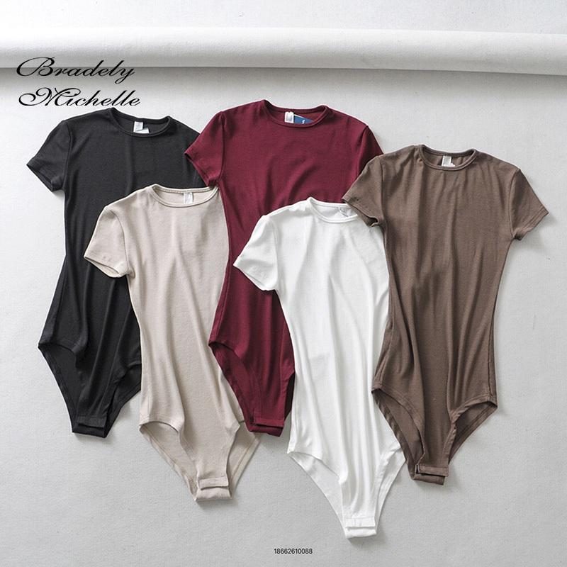 Bradely MICHELLE 2019 Summer Femmes Sexy Slim manches courtes O col Tops Bodys barboteuses féminins de combis T200714