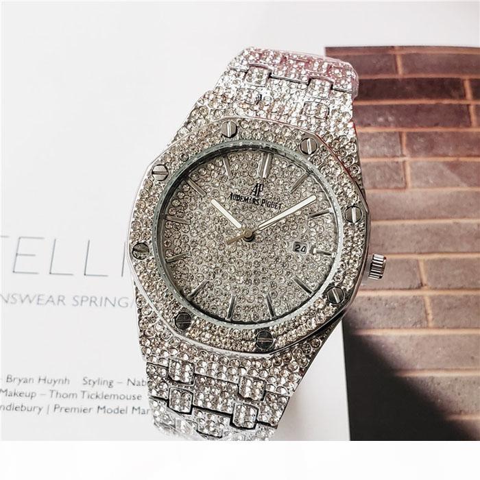 Colores para hombre del reloj de manera de lujo de Royal Oak diamante heló hacia fuera los relojes de cuarzo de Bling del partido Movimiento ap reloj del acero inoxidable SD01