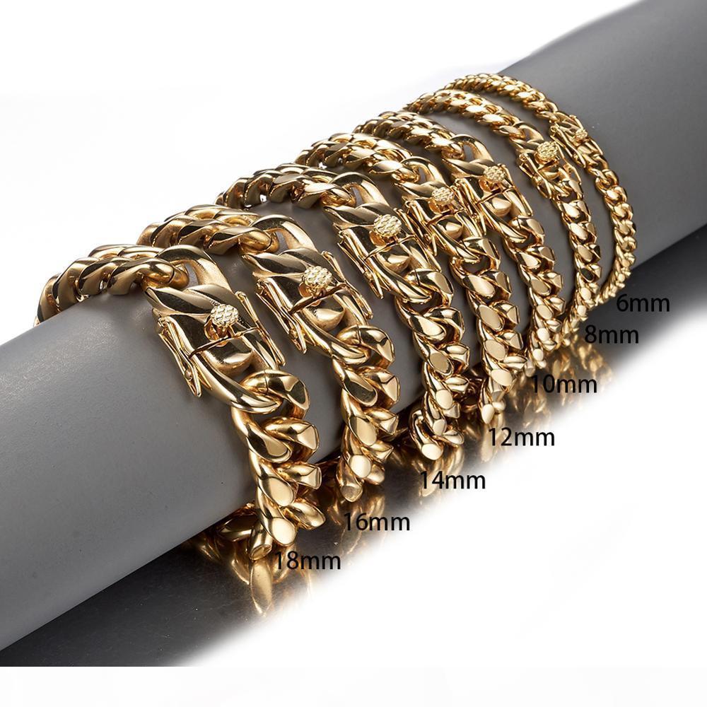Men 8 İçin Altın Renk Paslanmaz Çelik Miami frenlemek Küba bağlantı Zincir Bileklik Bileklik 7-11 inç Özelleştirilmiş Uzunluğu 10 12 14 16 18mm