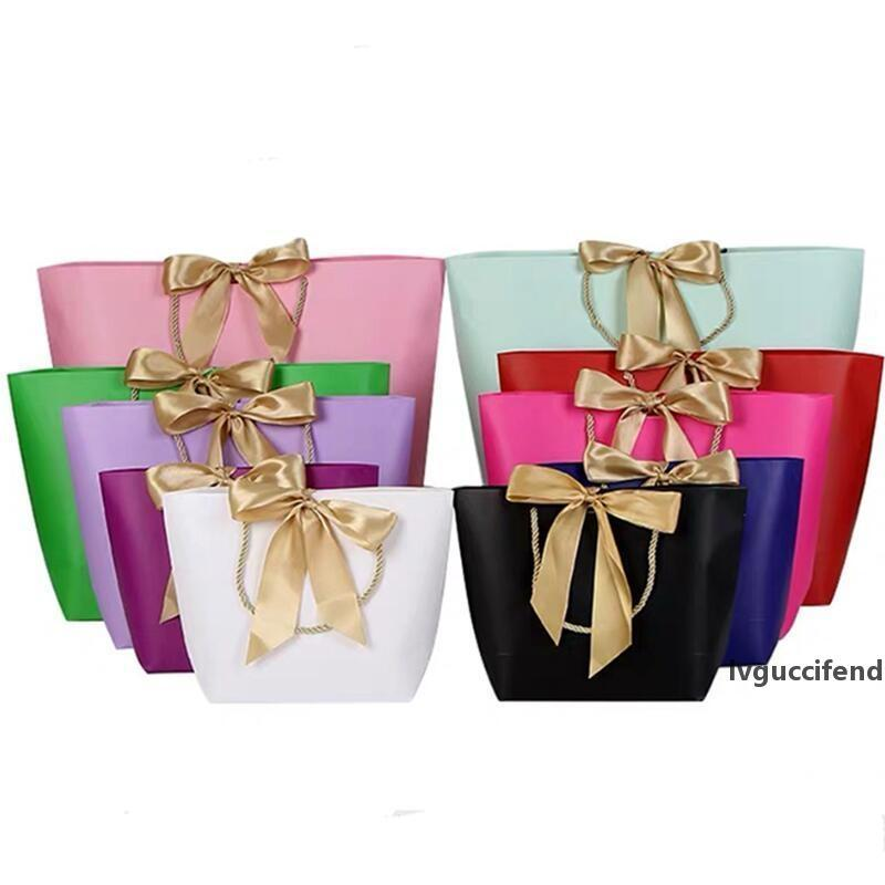 Paper Gifts Bags With Handles Pure Color 10 Colors Clothes Shoe Shopping Bag Gift Wrap 21x7x17cm LX8957