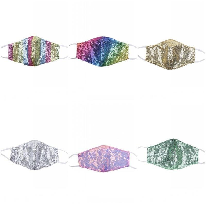 Multi Color Mascarilla antipoussière Coton Masque Respiratoire Sequin visage Illusion Respirez Summer Party Ornement Équipement de protection 4 3WR D2