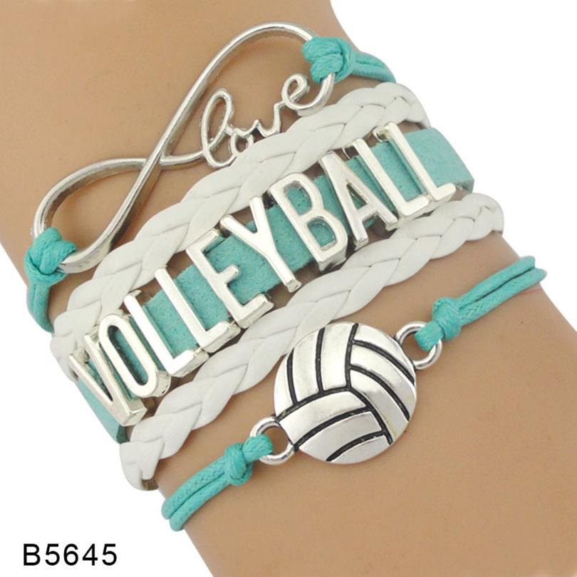 9styles Volleyball-Armband Leder und Wildleder Brief Armbänder Liebe I Heart Volleyball Sonder Schmuck für Frauen-Mann-Tagesgeschenk GGA3594-1