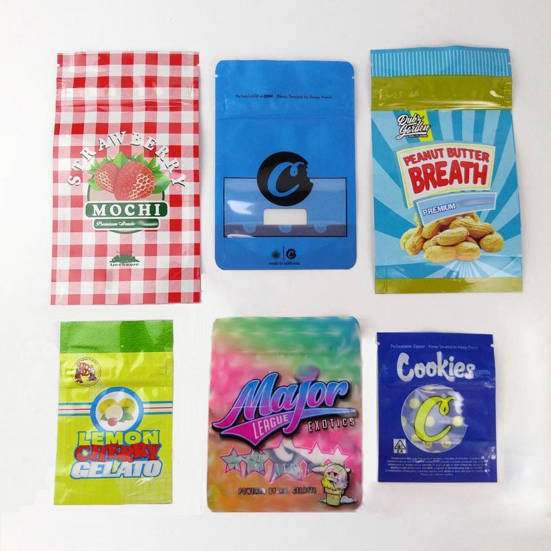 Sacs d'emballage à sec Herb Flower Major League Exotiques Gasolina CITRON cerise Gelato bleu Biscuits Sac Runtz mylar Sacs