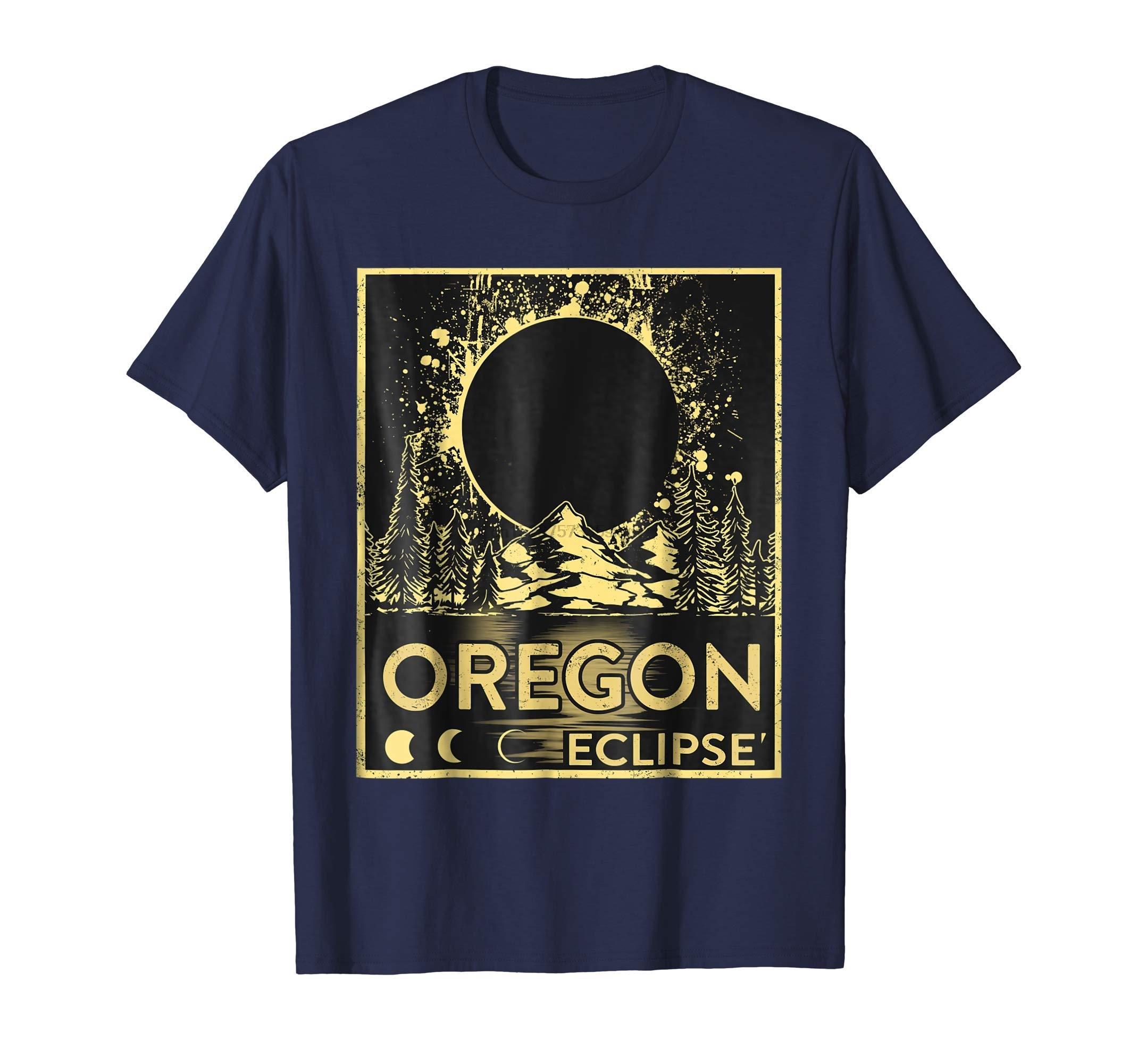 T shirt Uomo Oregon Eclipse retro dell'annata maglietta di modo