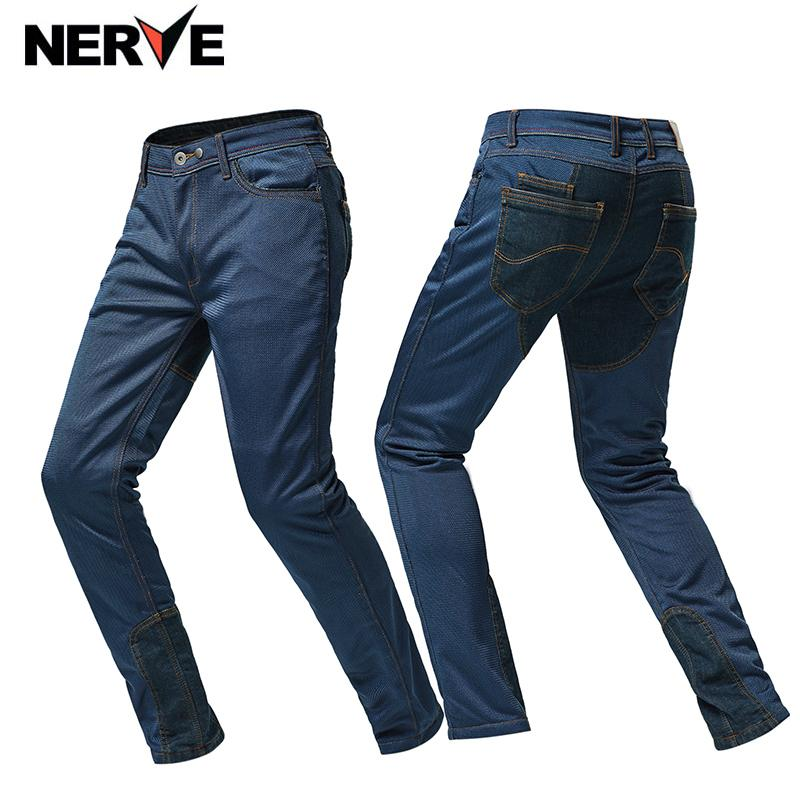 Nerve Mantra Motorcycle Rider Jeans Equitação Ciclismo Corrida de Motocross Off-road Calças Jeans Calças Mens Verão malha respirável