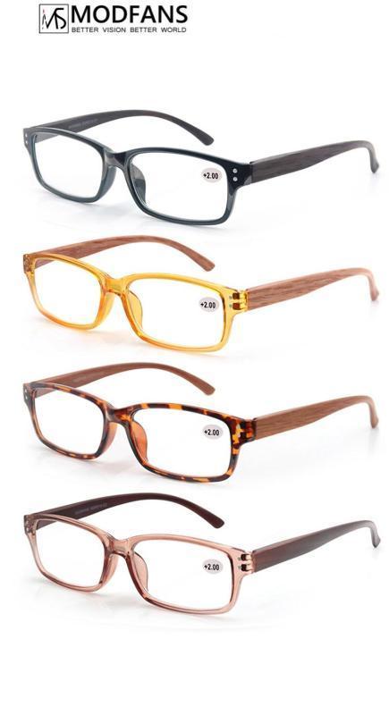 Men Reading Glasses Women Wood Look Frame Presbyopic Clear Glass Square Rectangular Eyeglasses 2020 Diopter 1 1.5 175 2 2.5 275