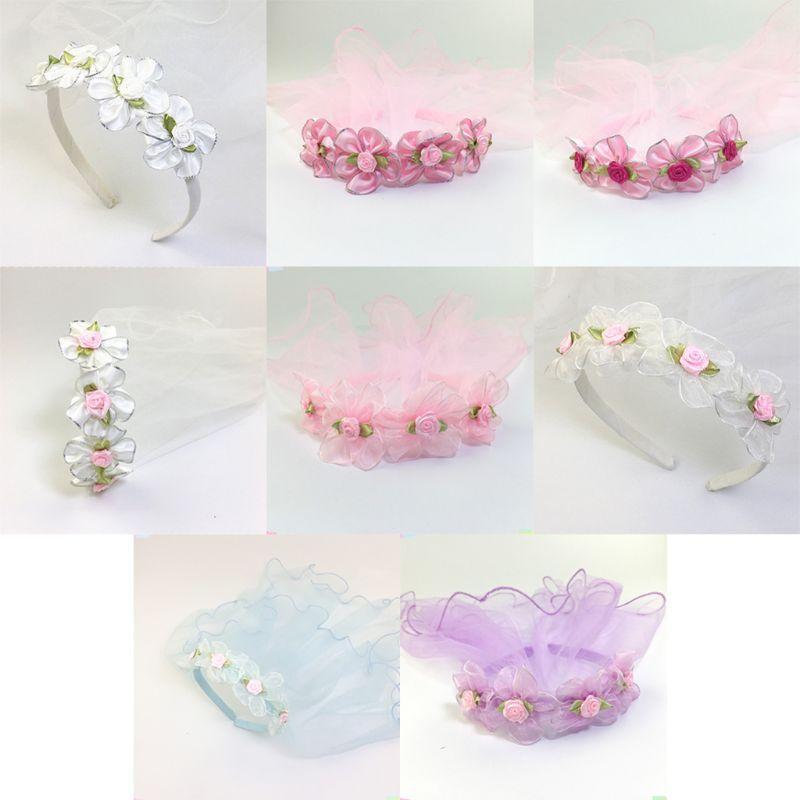 Kızlar Düğün Agaric Mesh Veil Kafa Glitter Trim Yapay Çiçek Çelenk Taç Saç Hoop ilk komünyonu Kafa