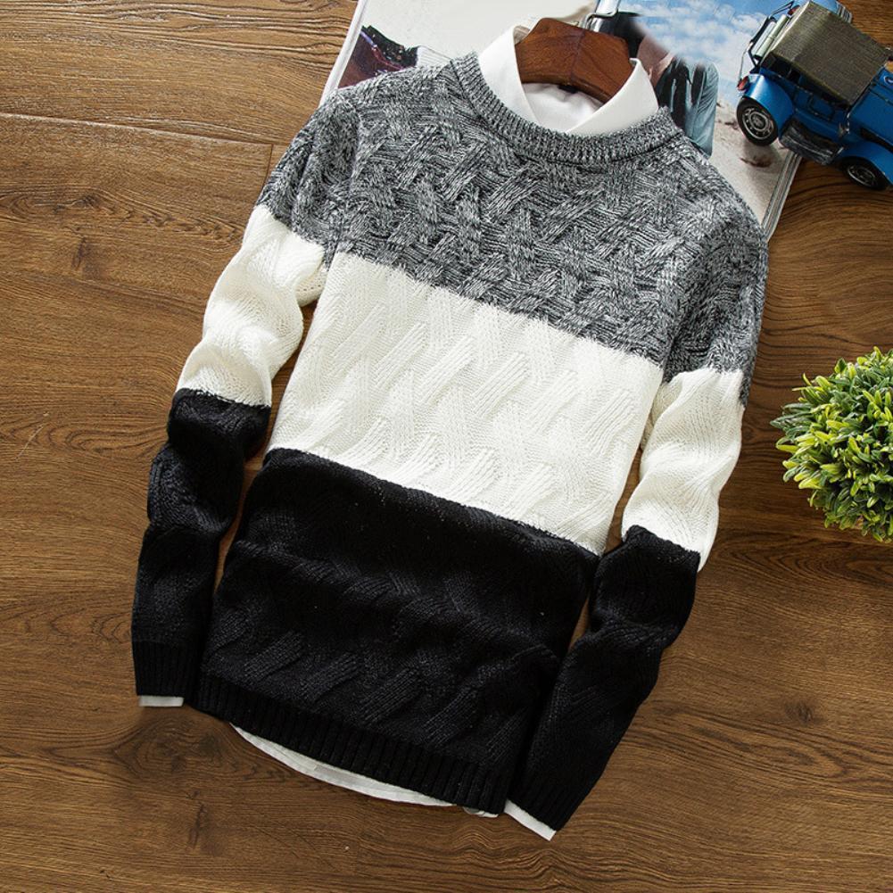 Uomini Autunno O collo lungo del manicotto di colore a blocchi patchwork Slim lavorato a maglia Pullover maglione nuovo modo di lana autunno Uomo Casual Abbigliamento MX200711