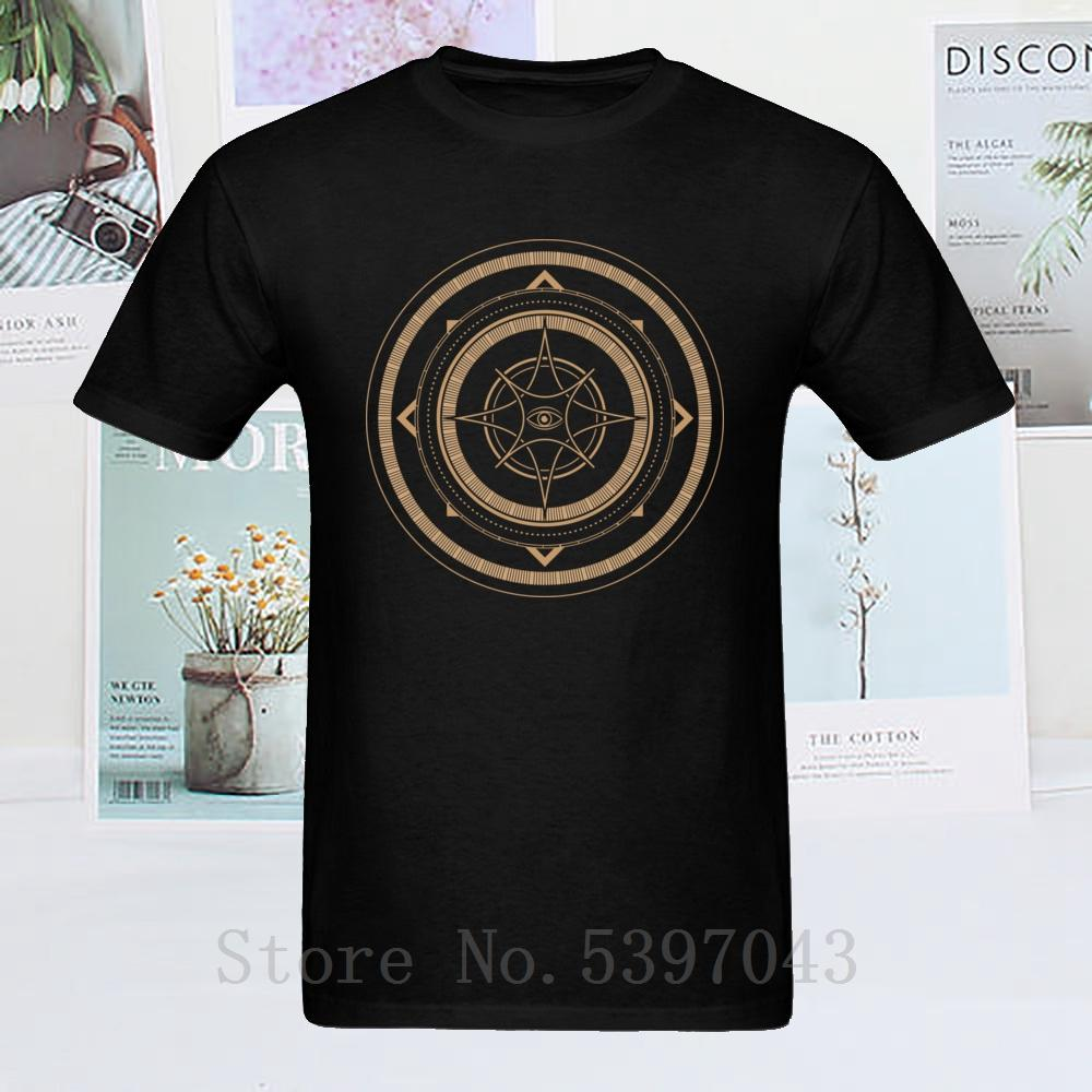 Funky Männer T-Shirt Abstrakte geometrische T Shirts Mystische Zeichen schwarze kurze Hülse Camisa Tops Tees Street Kleidung Cotton