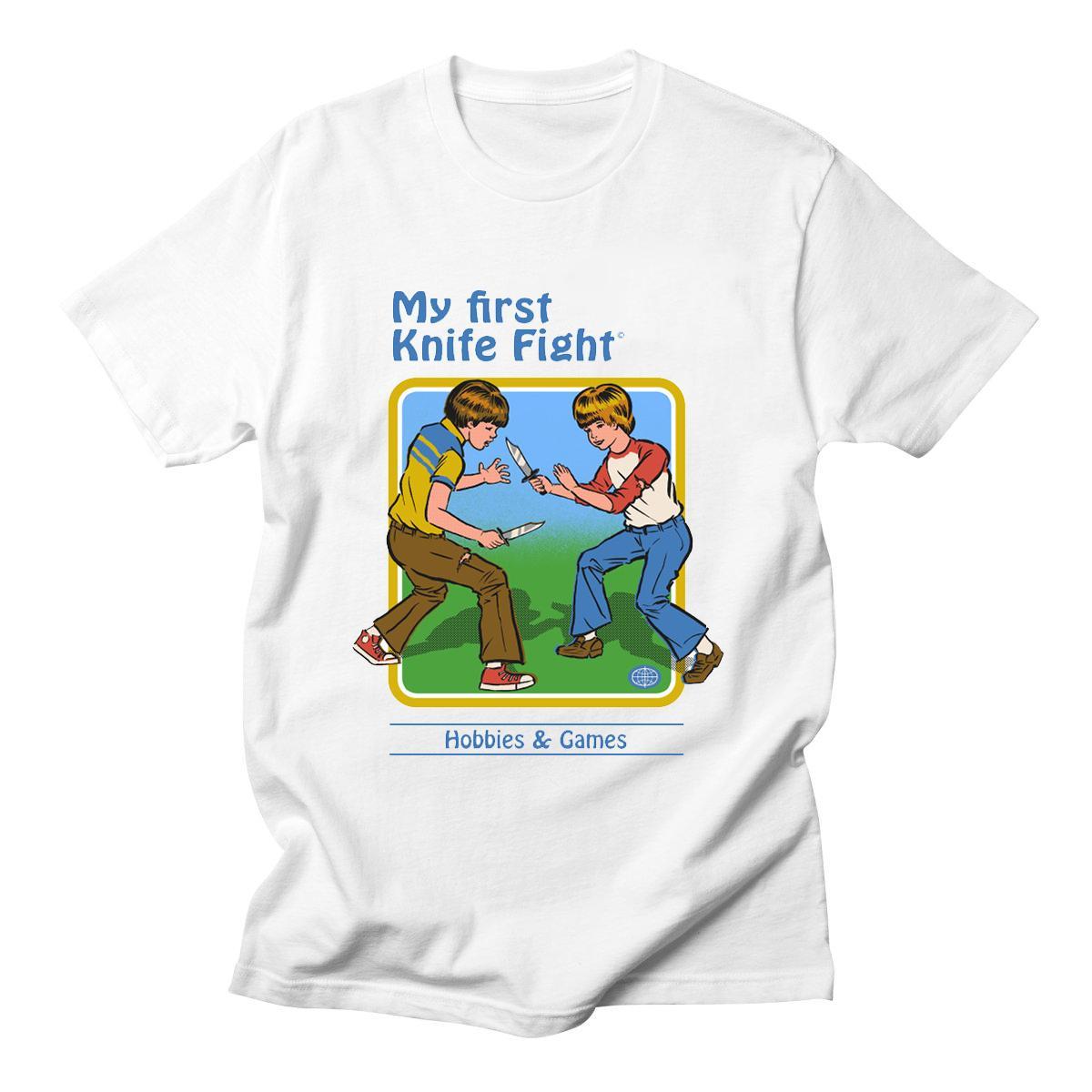 Erkekler Pamuk Kısa Kollu edelim Summon Şeytanlar Grafik Harajuku Yaz My First Bıçak Fight T Gömlek Erkekler Komik Tee Gömlek Tops