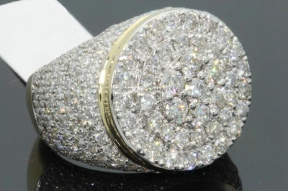 Yeni 18k altın kaplama renk ayrımı erkek yüzük, pırlanta ve mikro kakma zirkon parmak yüzük gün hediye dolu 925 gümüş