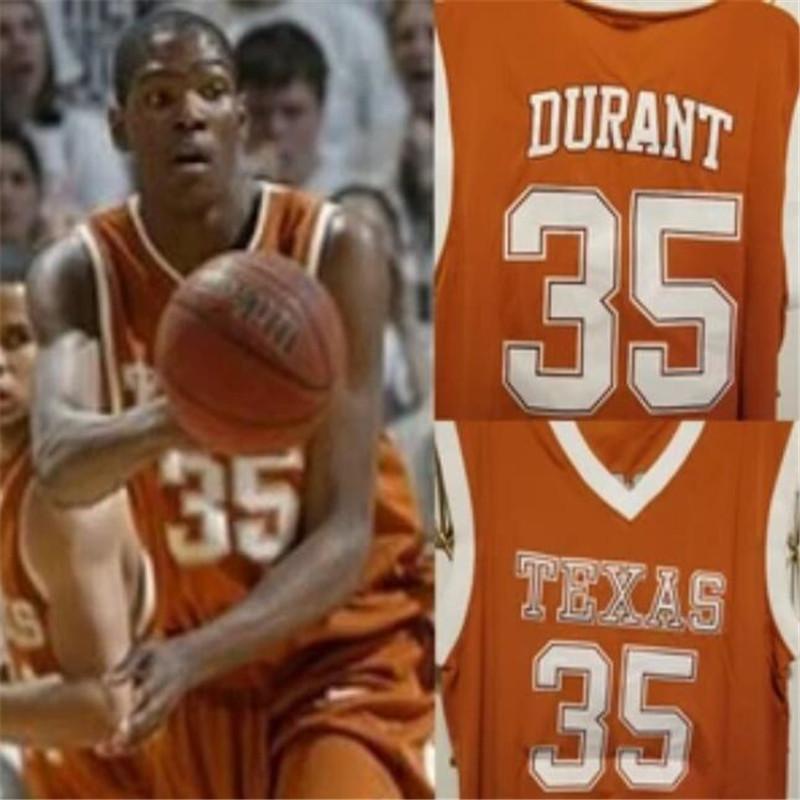 Benutzerdefinierte Texas Longhorns College Basketball Jersey Orange Weiß Nähed Jeder Name Nummer 35 Kevin Durant Jericho Sims Mens Frauen Jugend