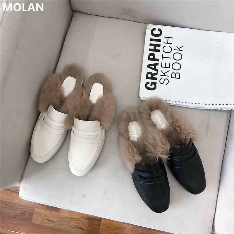MOLAN Brand Design tamanho 35-40 2020 coreana de Moda de Nova Fur cabelo macio chinelos de couro liso Slides Deslizamento-na mulas Flip Flops Casual