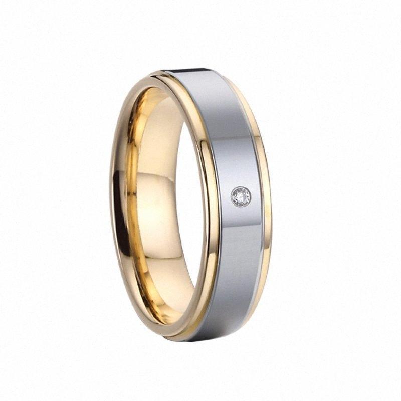 dito 5 millimetri Uomo anelli gioielli delle donne Alliance Promessa d'amore Wedding Band anelli per le coppie con 1 pietra di colore dell'oro di anillos anel RFKV #