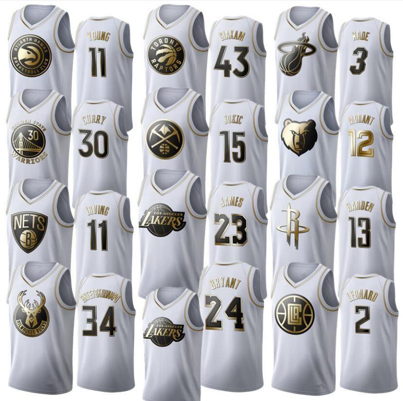 2020 Homens 23 # 13 # 34 Núcleo edição jogador platina camisa de basquete costurado, jogador swingman camisa de basquete