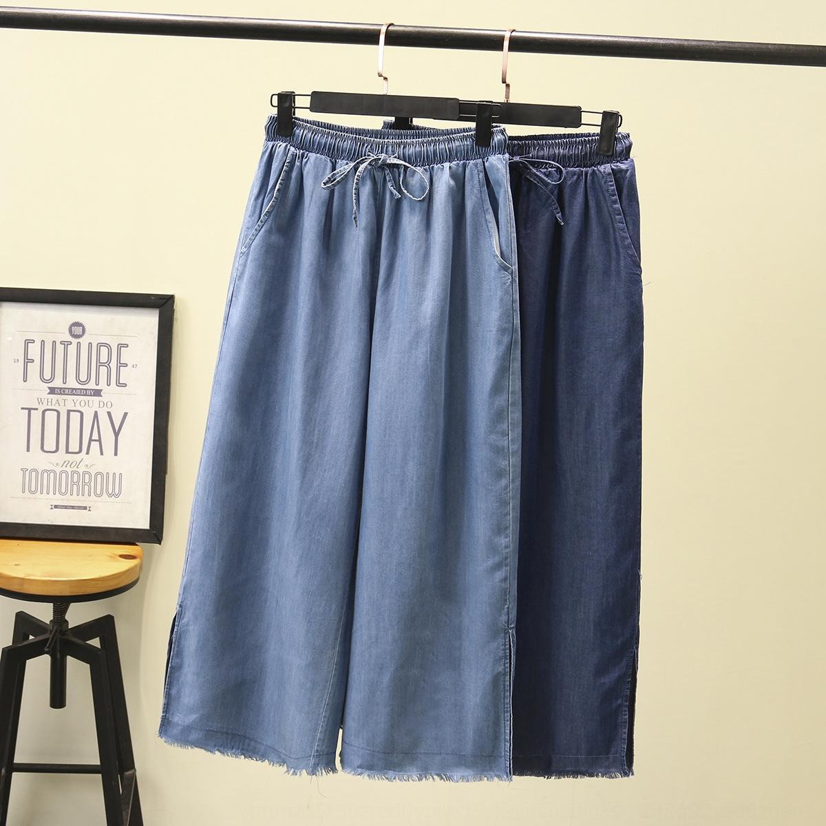 Além disso plus size Jeans calças perna larga 200 jin gordura roupas de gordura de roupas finas calças de brim tencel das mulheres das mulheres perna larga calças maré 8306