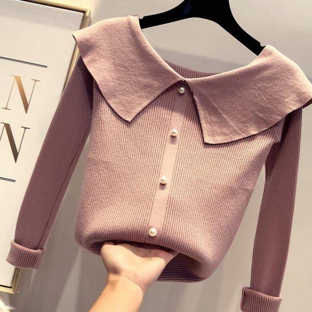 2020 Новый сладкий свитер Женщины Turn Down Воротник с длинным рукавом Pearl Кнопка Свитера Пуловеры Женские трикотажные Твердая Перемычка Tops W262