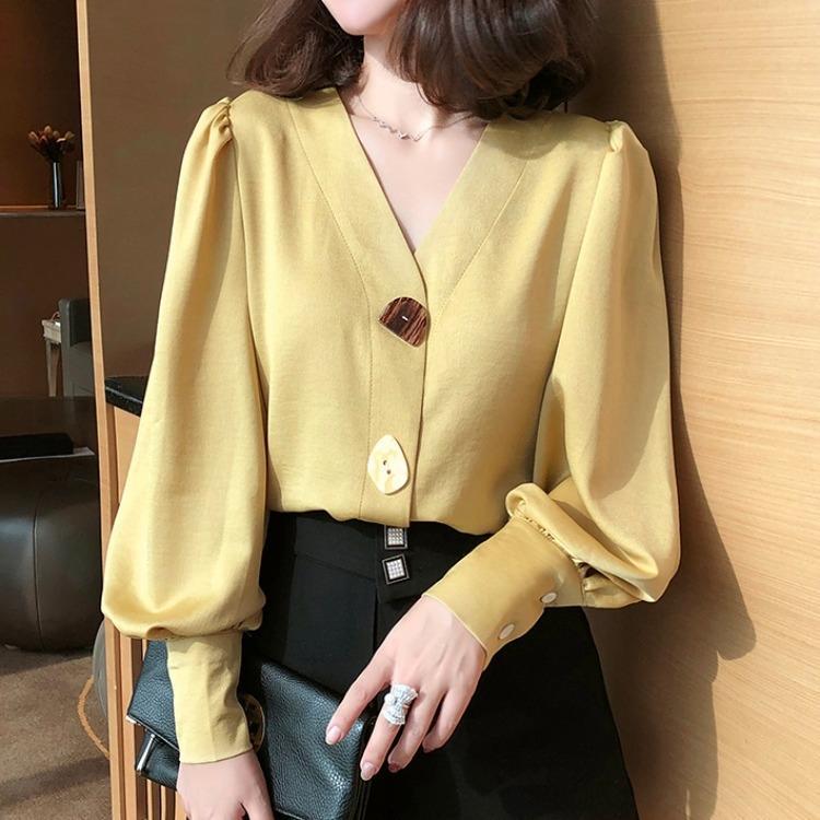 GYQeh 2020 Verano nuevo estilo de la linterna de Hong Kong camisa con cuello en V manga de la camisa luz de la linterna maduro para las mujeres
