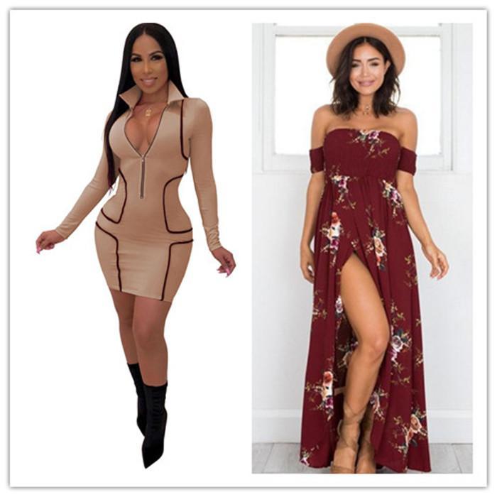Kadınlar Derin V Bodycon Elbiseler Ön Fermuar Uzun Kollu Tasarımcı Kalem Elbise Famale Sıska Elbise