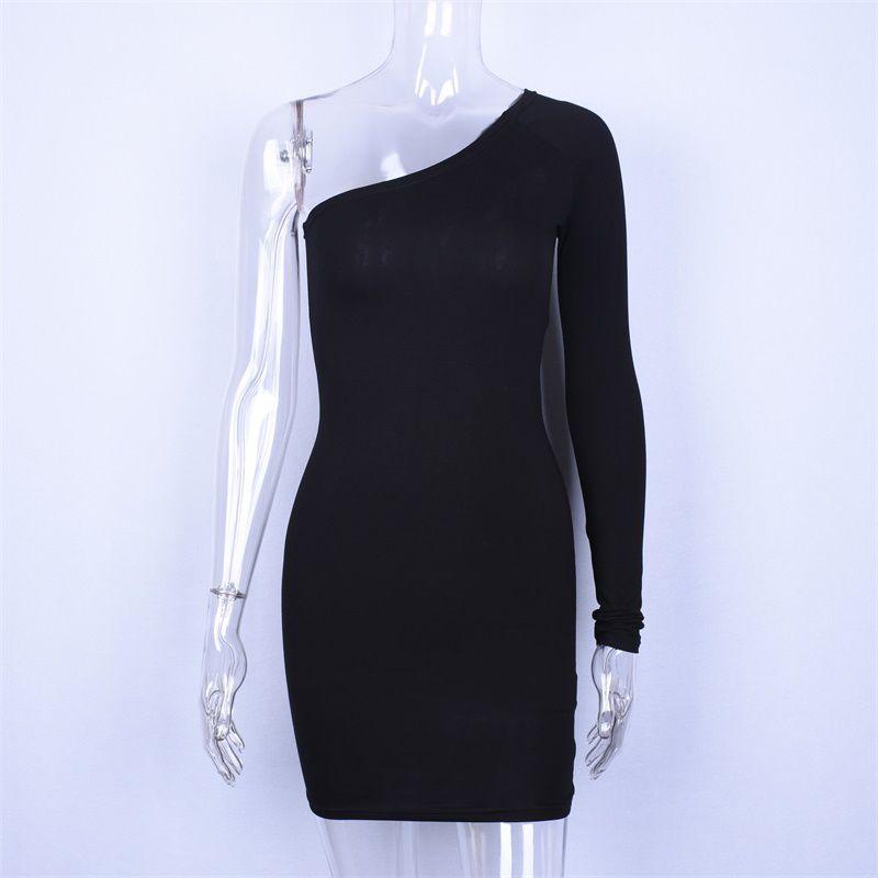 Hugcitar хлопок один наклон плеча длинный рукав высокой талией сексуальные мини-платье-футляр 2019 осень зима женщин моды партии одежды LYQ150