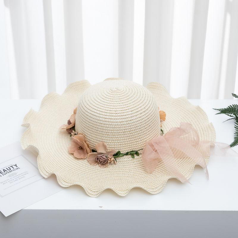 Tatil Güneşten Korunma Garland Sun için Hasır Şapka Bayan Yaz Plaj Şapka Kore Stili All-maç Katlanabilir Şapka