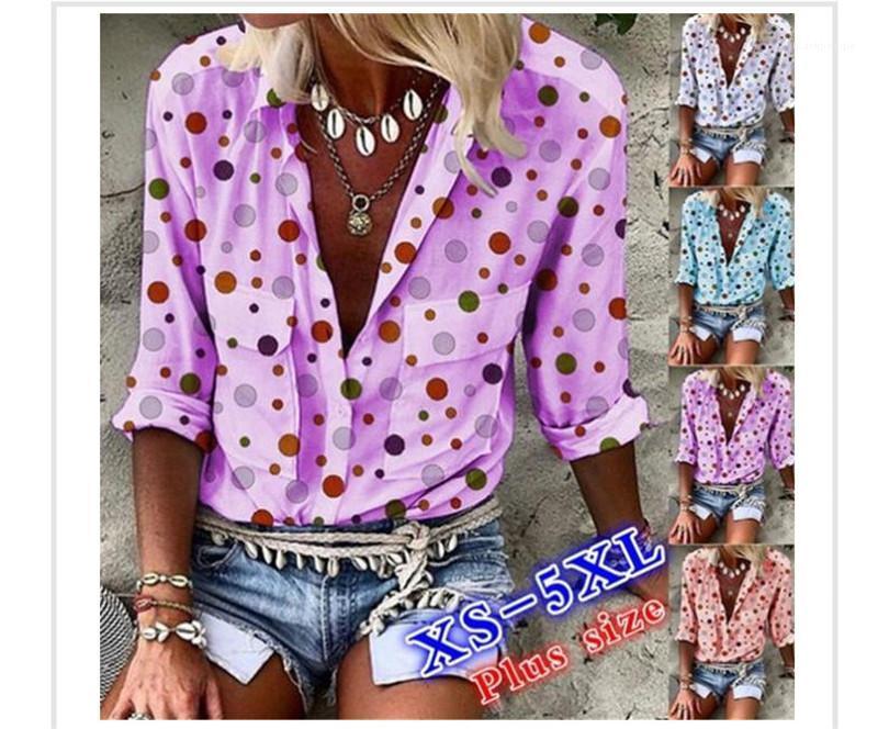 Tasarımcı Artı boyutu 5XL Bluzlar Polka Dot Baskılı Tek Breasted Uzun Kollu Cepler Casual Kadın Giyim Sonbahar Bayanlar Tops