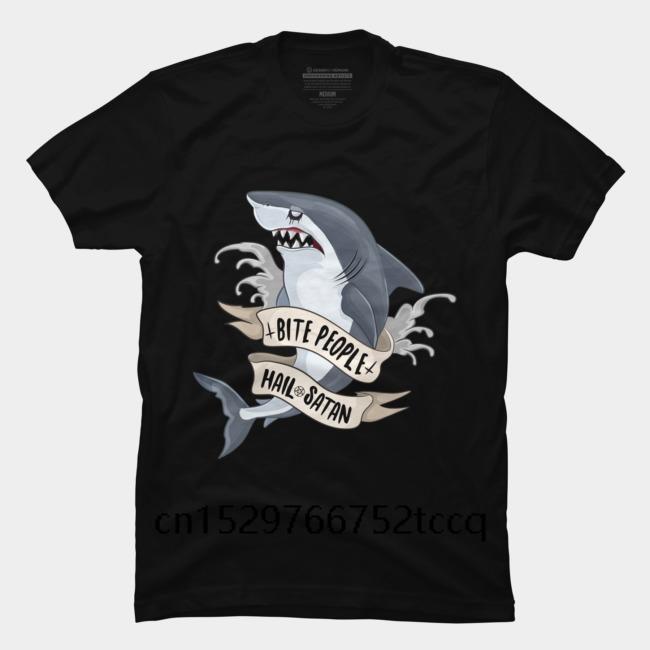 Moda Baskılı erkek Tişörtlü Kısa Kollu İnsanlar Hail Şeytan Goth Köpekbalığı erkekler rahat moda yuvarlak boyun serin adamın T gömlek Bite