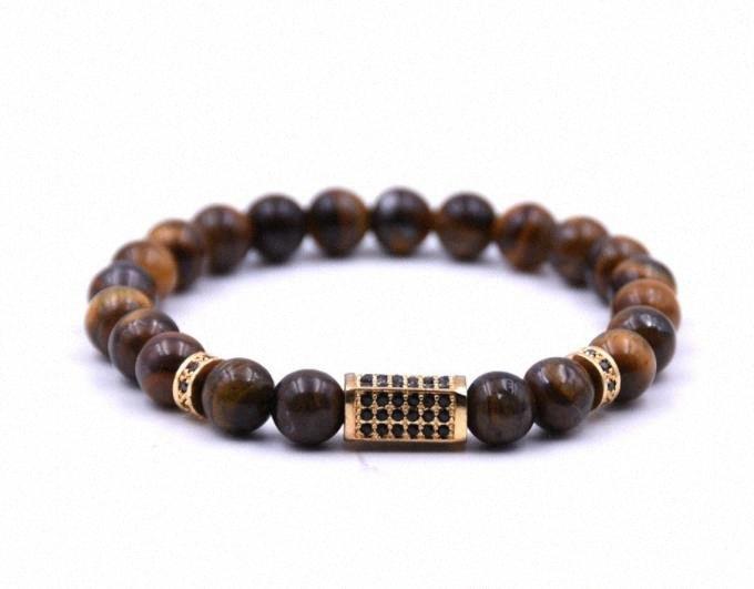 Grani di pietra Buddha Bracciale Tiger Occhi marroni naturali Yoga Gioielli meditazione Braclet oro zircone Per mano Donna Uomo Homme TK6t #