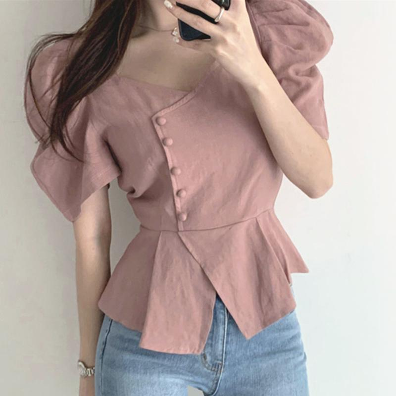 [EWQ] 2020 Plaza verano collar lateral de un solo pecho volante Diseño soplo de manga corta para mujer abrigos simple blusas 4 Color