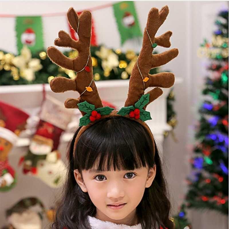 Light/Dark coffee Christmas headband hair hoop Christmas Elk Hair Band Headband Accessories Antlers With Bells Kids Hoop