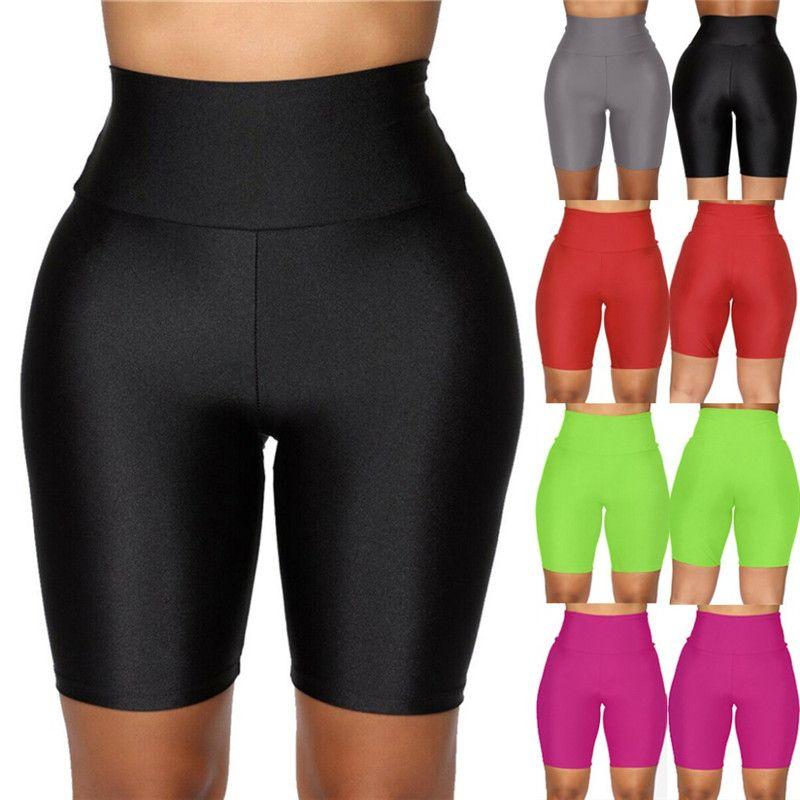 2020 Nouveau Cuissards Femmes stretch uni Biker Décontracté Sport Fitness Mesdames taille élastique Leggings Slim