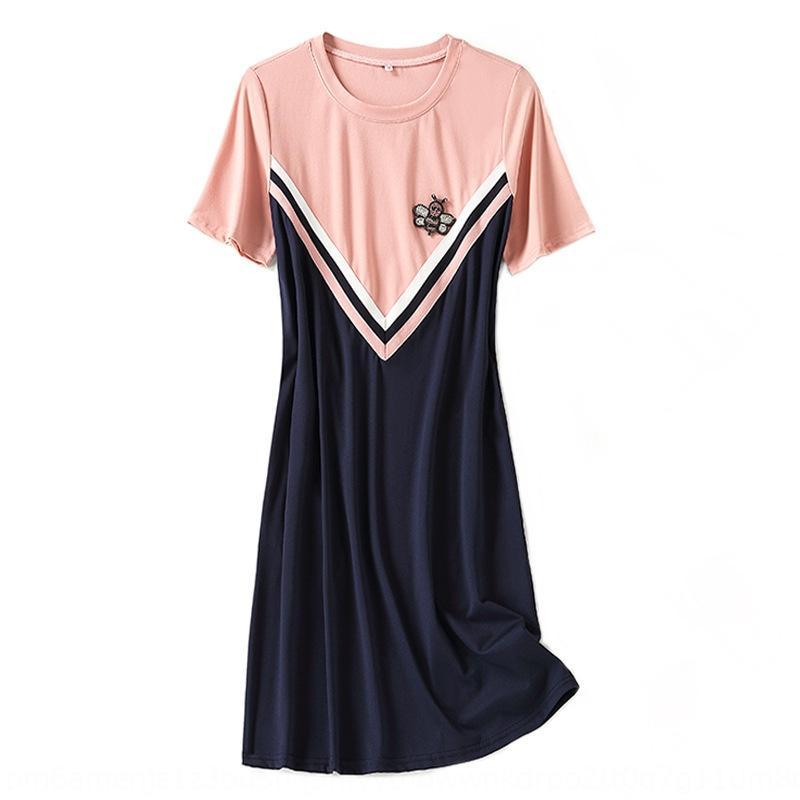 Emgba style coréen T-shirt couleur 2020 nouvelle robe assortie femmes d'été doux vieillissement abeille diamant robe T-shirt d'été