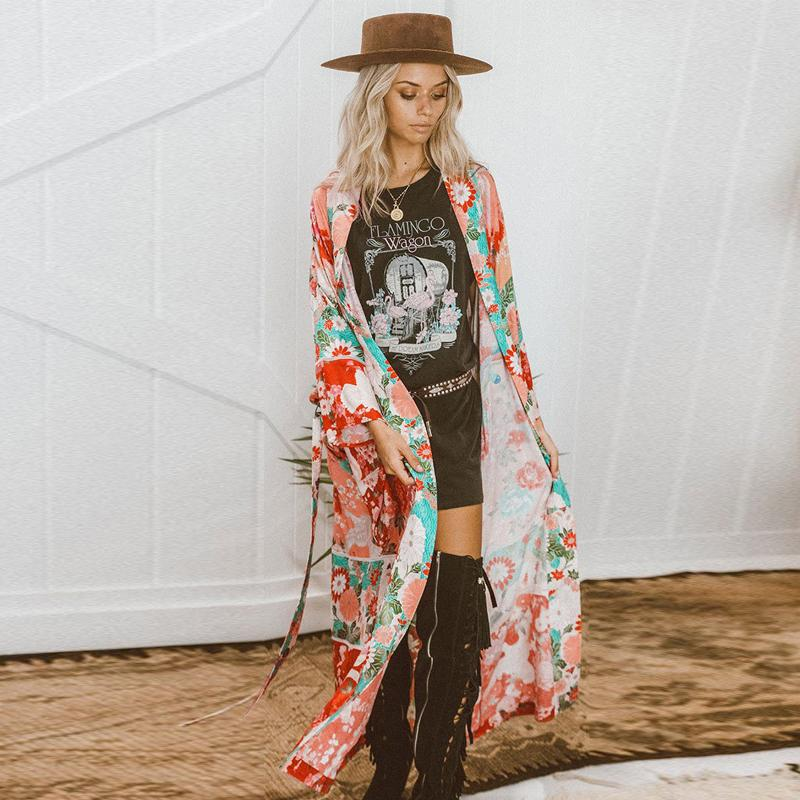 2020 Women Chiffon Kimono Cardigan Floral Printed Long Sleeve Belt Casual Loose Long Outwear Thin Cover Ups Beachwear Plus Size CX200713