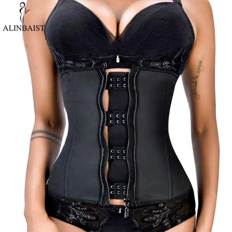 XXS-6XL Women Latex Rubber Waist Trainer Body Shaper Hook Zipper Bustiers Waist Cincher Tops Slimming Shapewear Girdle Y200710
