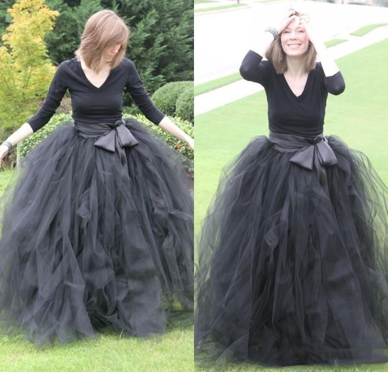 2020 Negro elegante de manga larga vestidos de noche de tul con el marco formal del partido Prom Vestidos por encargo