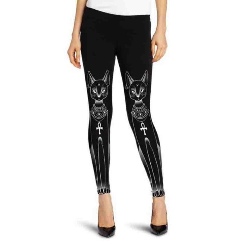 Warm Frauen Ägyptische Katze Stamp Hippie Gothic-dünne beiläufige Hosen-Strumpfhosen Leggings Sport Frauen Fitness-Sport-Yoga-Gymnastik Hosen